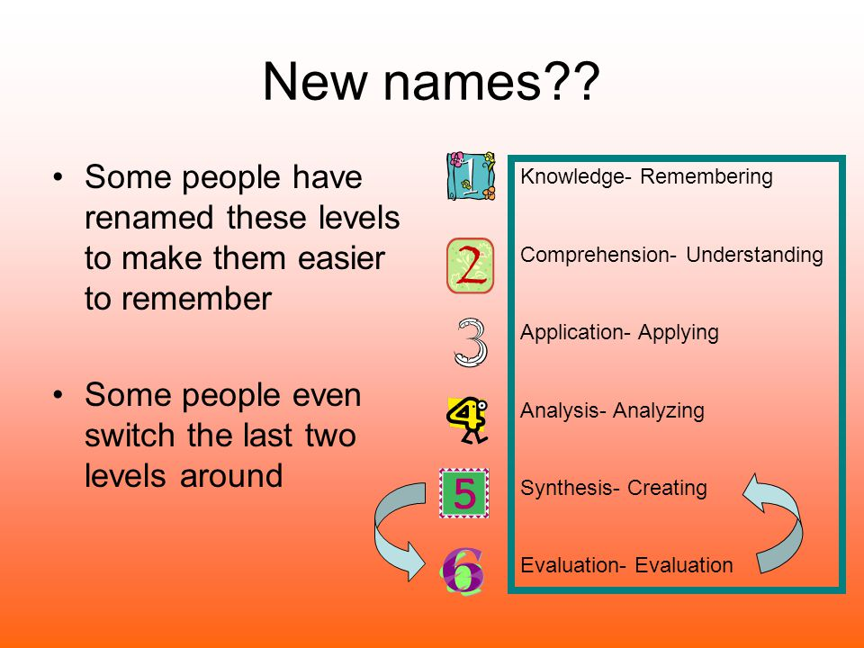 New names Some people have renamed these levels to make them easier to remember. Some people even switch the last two levels around.