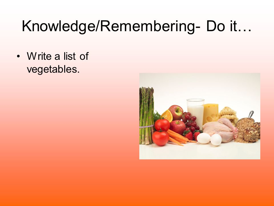 Knowledge/Remembering- Do it…