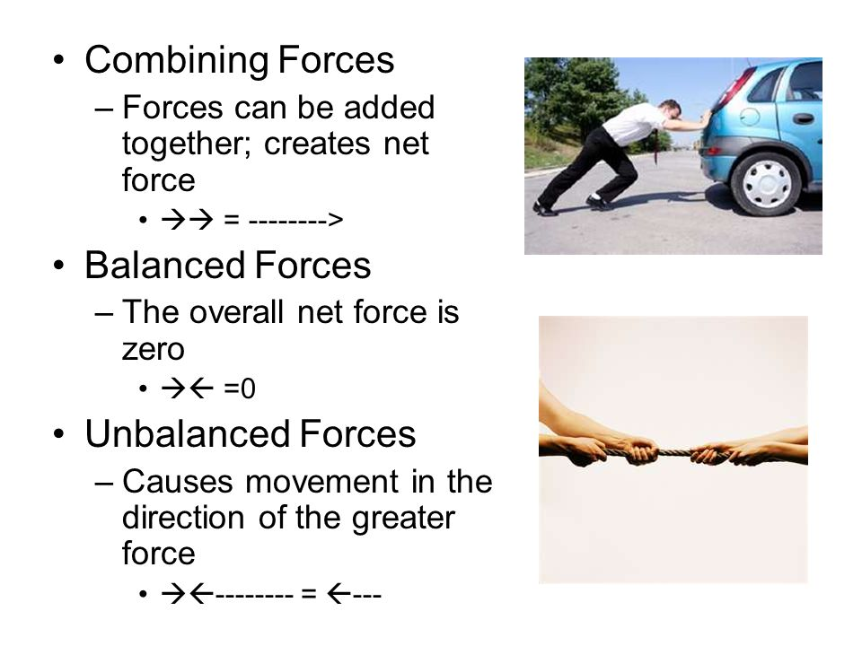Combining Forces Balanced Forces Unbalanced Forces
