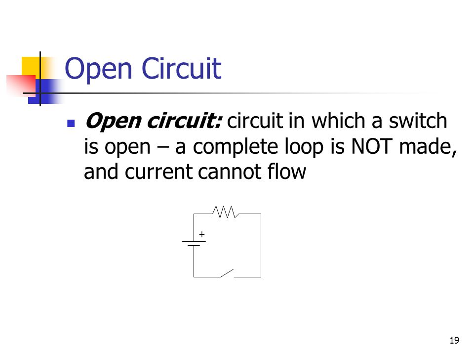 Open Circuit Open circuit: circuit in which a switch is open – a complete loop is NOT made, and current cannot flow.