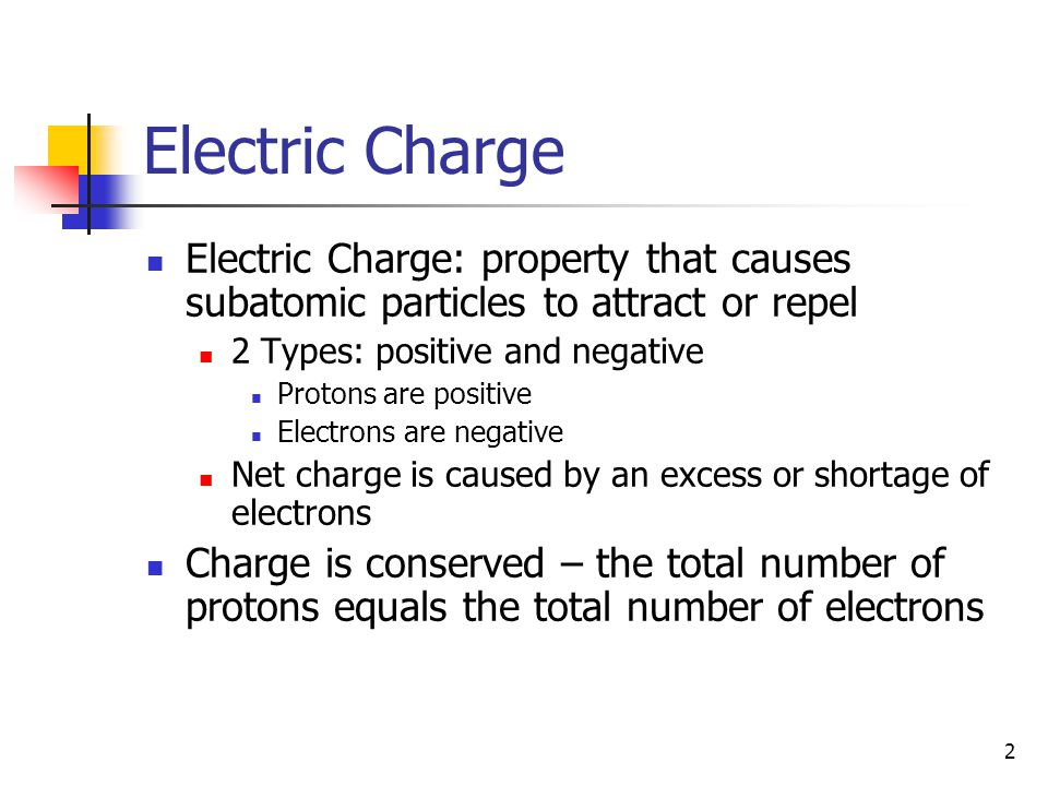 Electric Charge Electric Charge: property that causes subatomic particles to attract or repel. 2 Types: positive and negative.