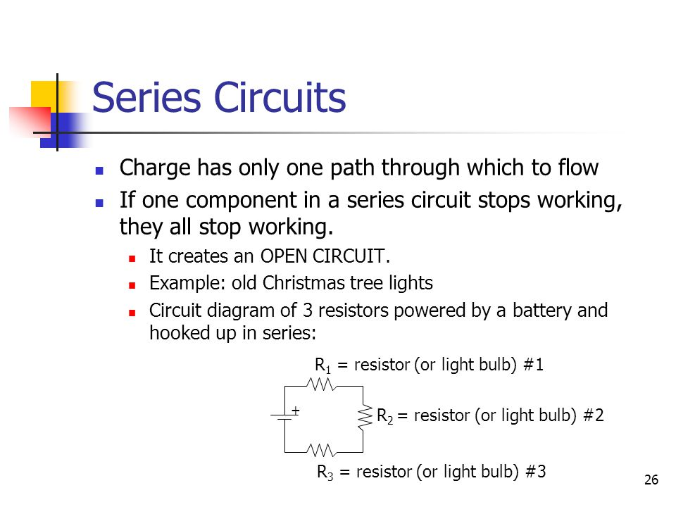Series Circuits Charge has only one path through which to flow