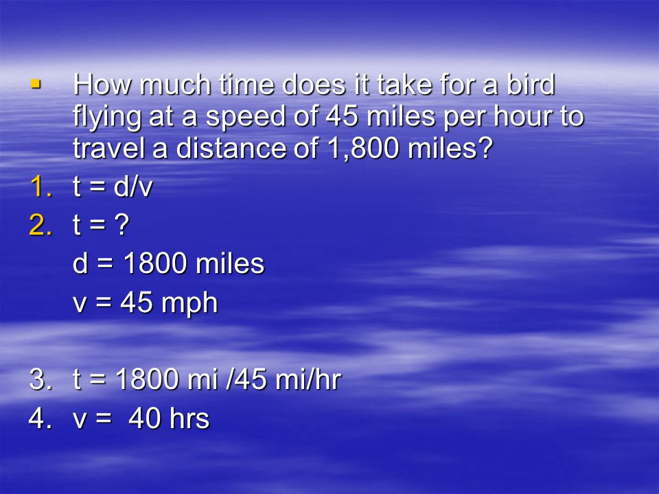 How much time does it take for a bird flying at a speed of 45 miles per hour to travel a distance of 1,800 miles