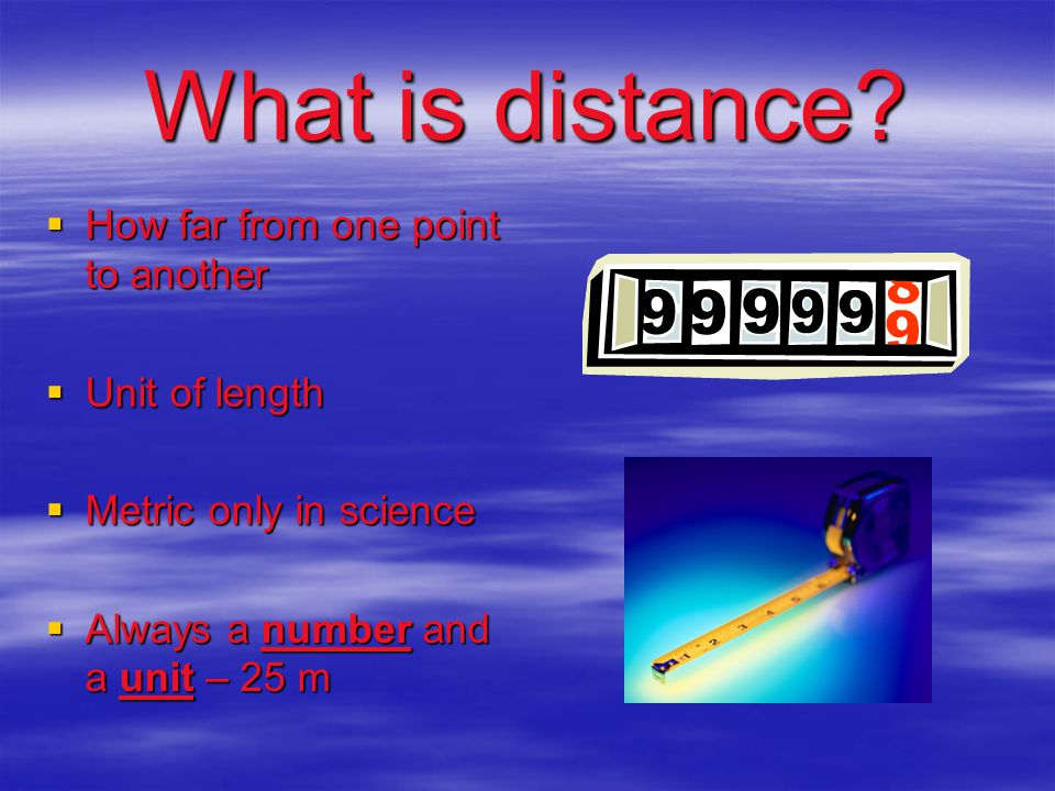 What is distance How far from one point to another Unit of length