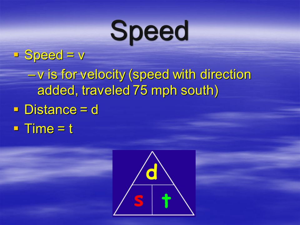 Speed Speed = v. v is for velocity (speed with direction added, traveled 75 mph south) Distance = d.