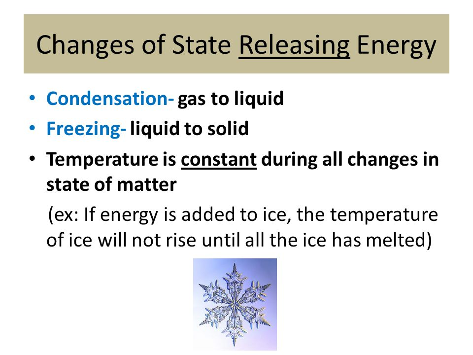 Changes of State Releasing Energy