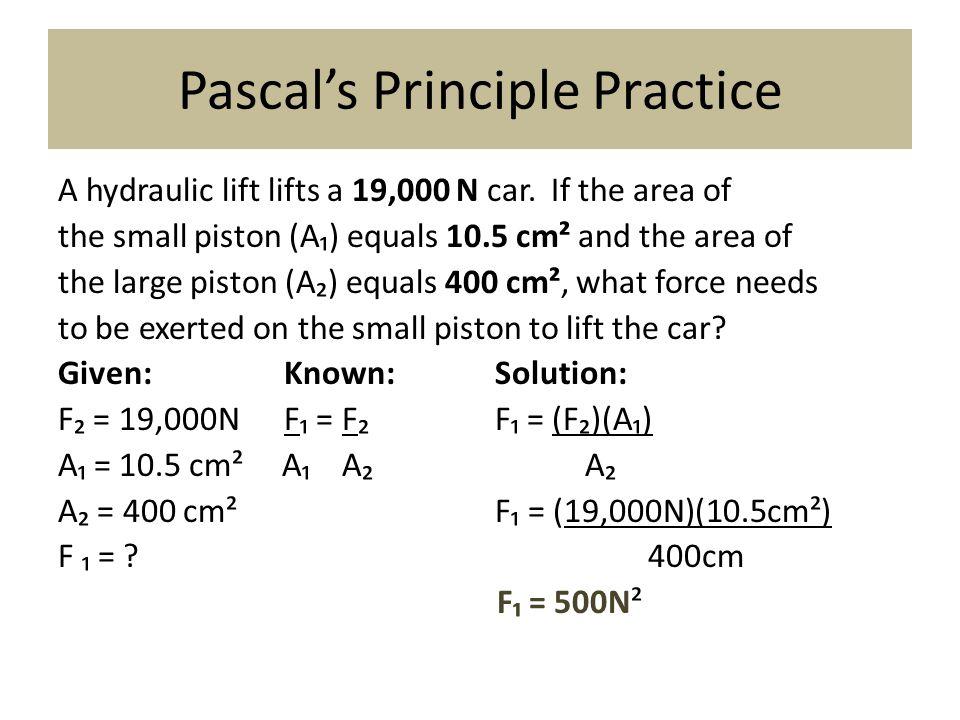 Pascal's Principle Practice