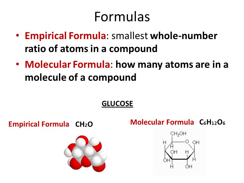 Formulas Empirical Formula: smallest whole-number ratio of atoms in a compound. Molecular Formula: how many atoms are in a molecule of a compound.