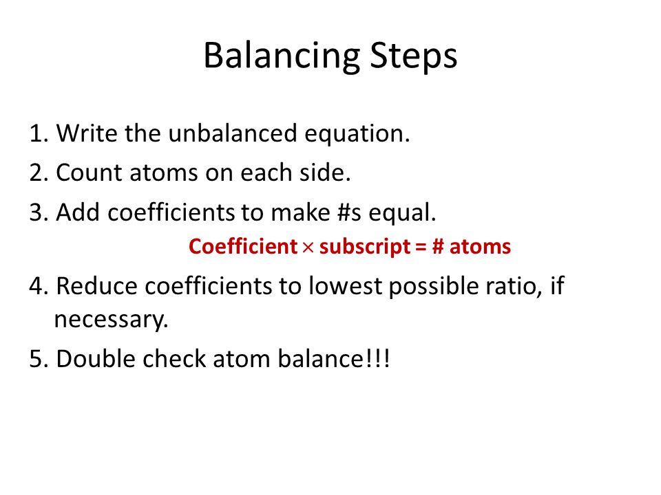 Coefficient  subscript = # atoms