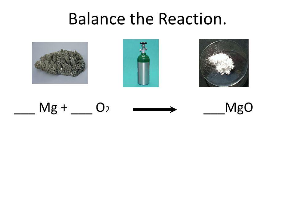 Balance the Reaction. ___ Mg + ___ O2 ___MgO