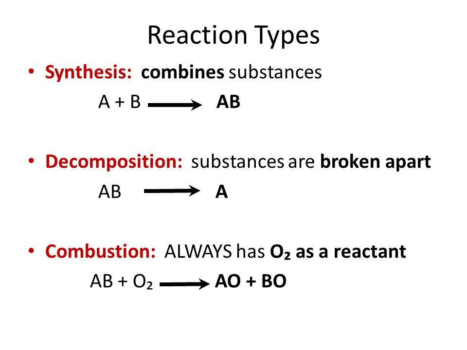Reaction Types Synthesis: combines substances A + B AB