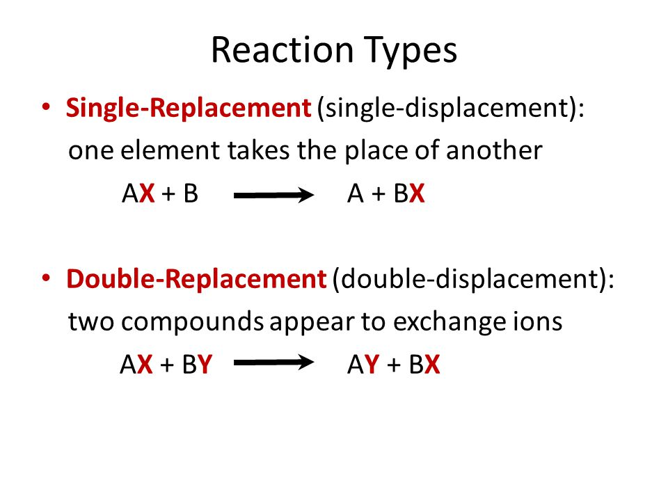 Reaction Types Single-Replacement (single-displacement):