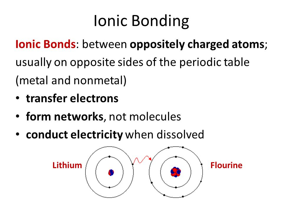 Ionic Bonding Ionic Bonds: between oppositely charged atoms;