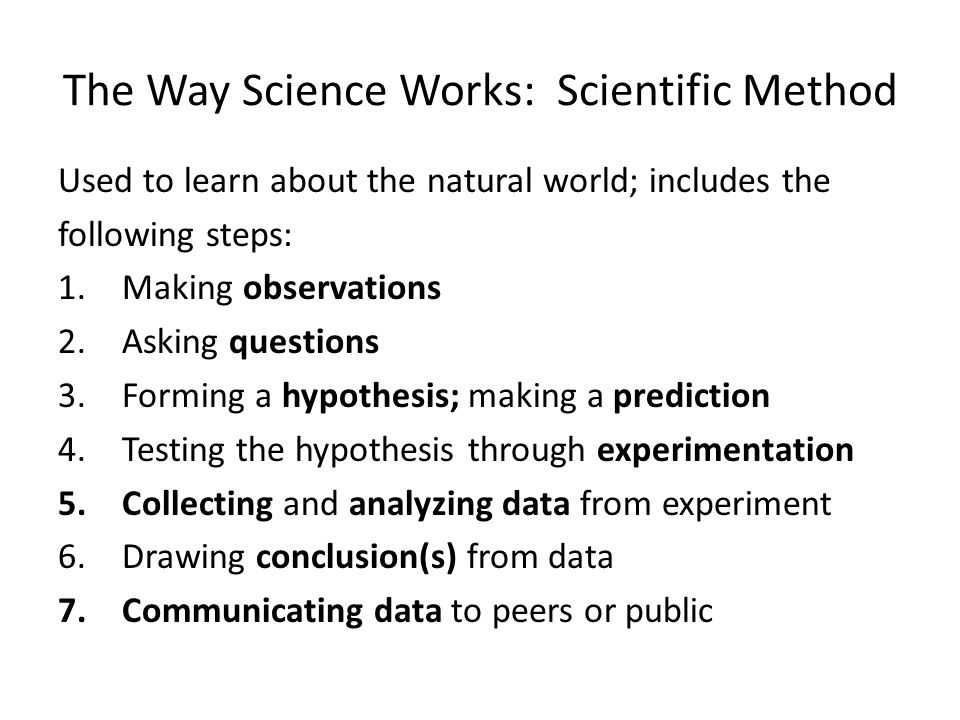 The Way Science Works: Scientific Method