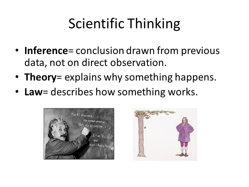 Scientific Thinking Inference= conclusion drawn from previous data, not on direct observation. Theory= explains why something happens.