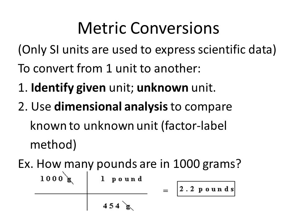 Metric Conversions (Only SI units are used to express scientific data)