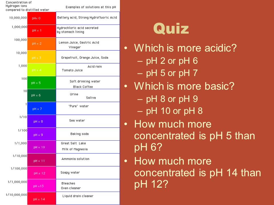 Quiz Which is more acidic Which is more basic