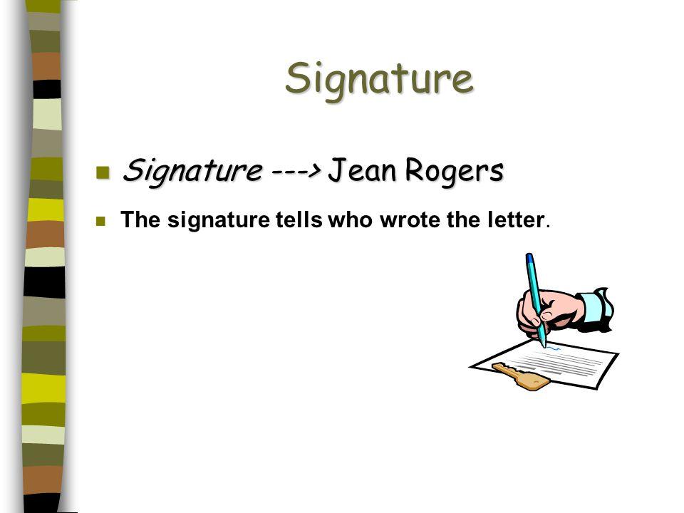 Signature Signature ---> Jean Rogers