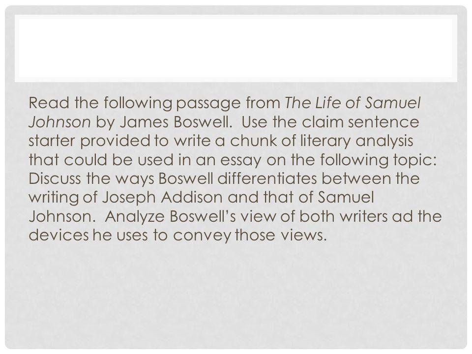 Read the following passage from The Life of Samuel Johnson by James Boswell.