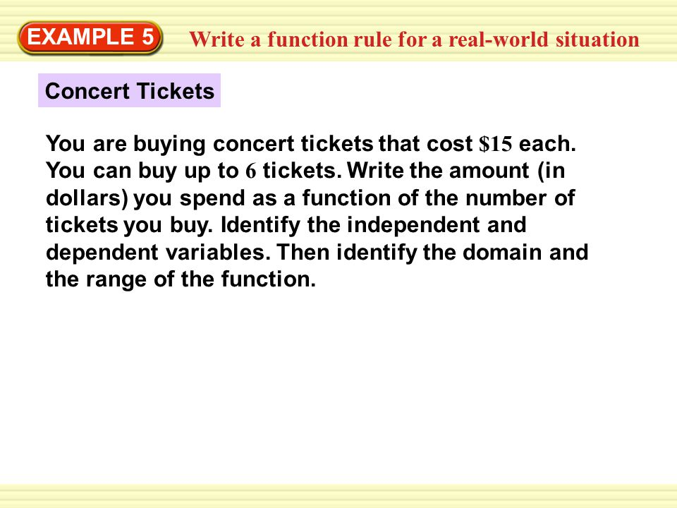 EXAMPLE 5 Write a function rule for a real-world situation. Concert Tickets.