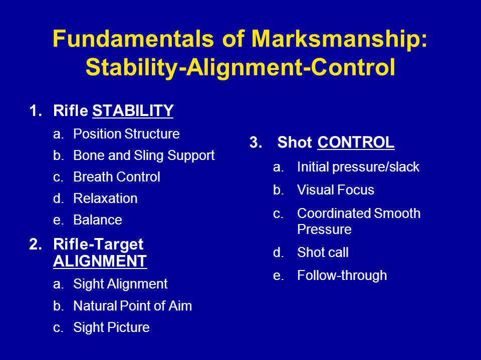 Fundamentals of Marksmanship: Stability-Alignment-Control