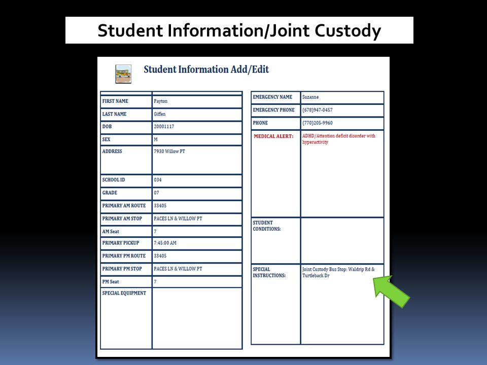 Student Information/Joint Custody