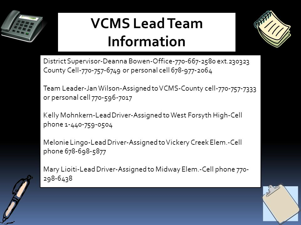 VCMS Lead Team Information