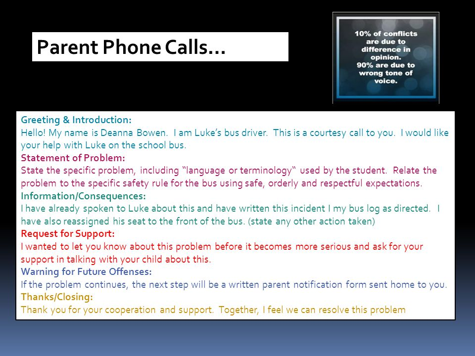 Parent Phone Calls… Greeting & Introduction: