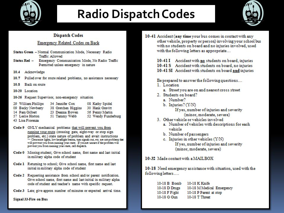 Radio Dispatch Codes