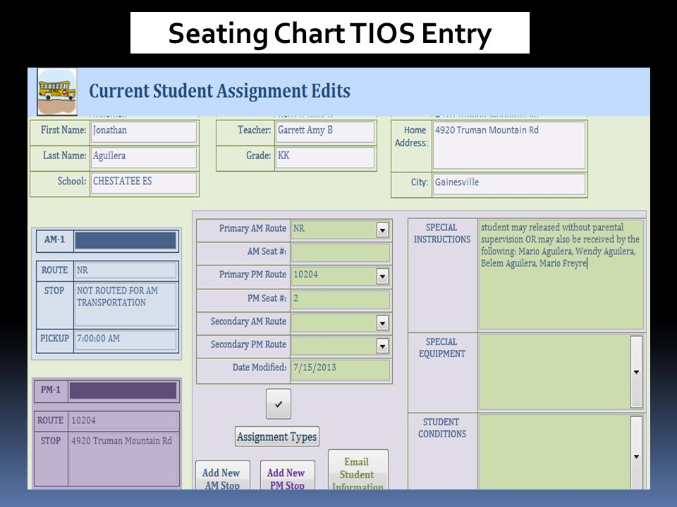Seating Chart TIOS Entry