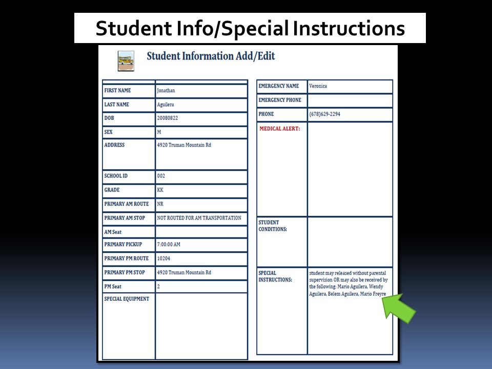 Student Info/Special Instructions