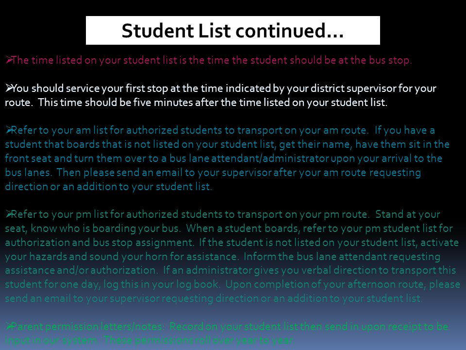 Student List continued…