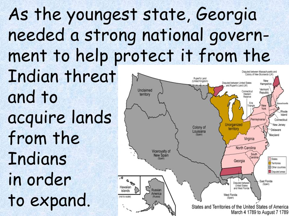 As the youngest state, Georgia needed a strong national govern-ment to help protect it from the Indian threat and to acquire lands from the Indians in order to expand.