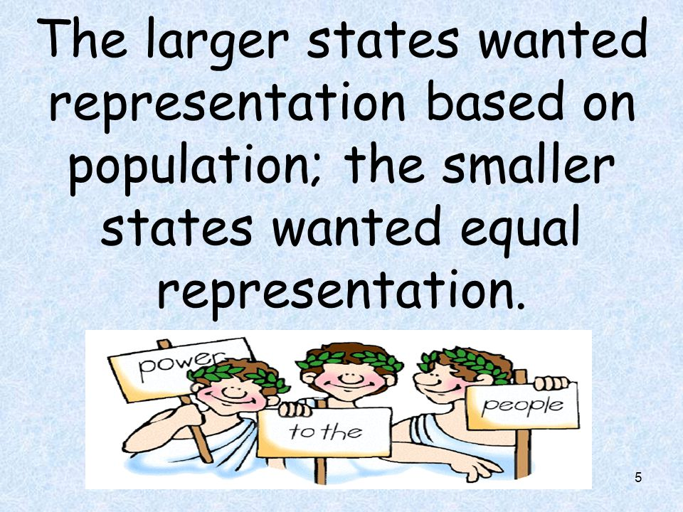 The larger states wanted representation based on population; the smaller states wanted equal representation.