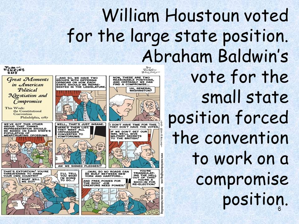 William Houstoun voted for the large state position