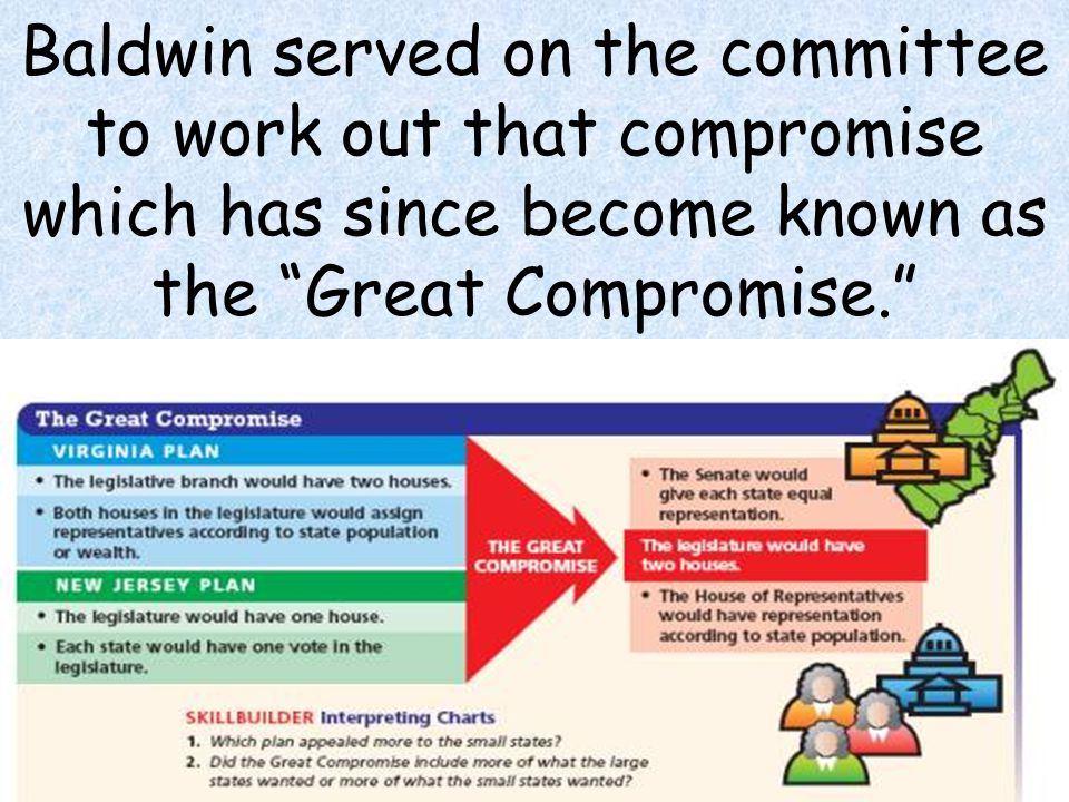 Baldwin served on the committee to work out that compromise which has since become known as the Great Compromise.