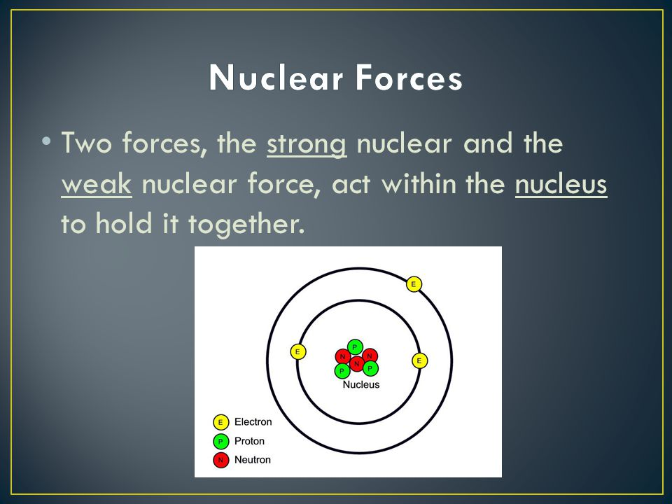 Nuclear Forces Two forces, the strong nuclear and the weak nuclear force, act within the nucleus to hold it together.