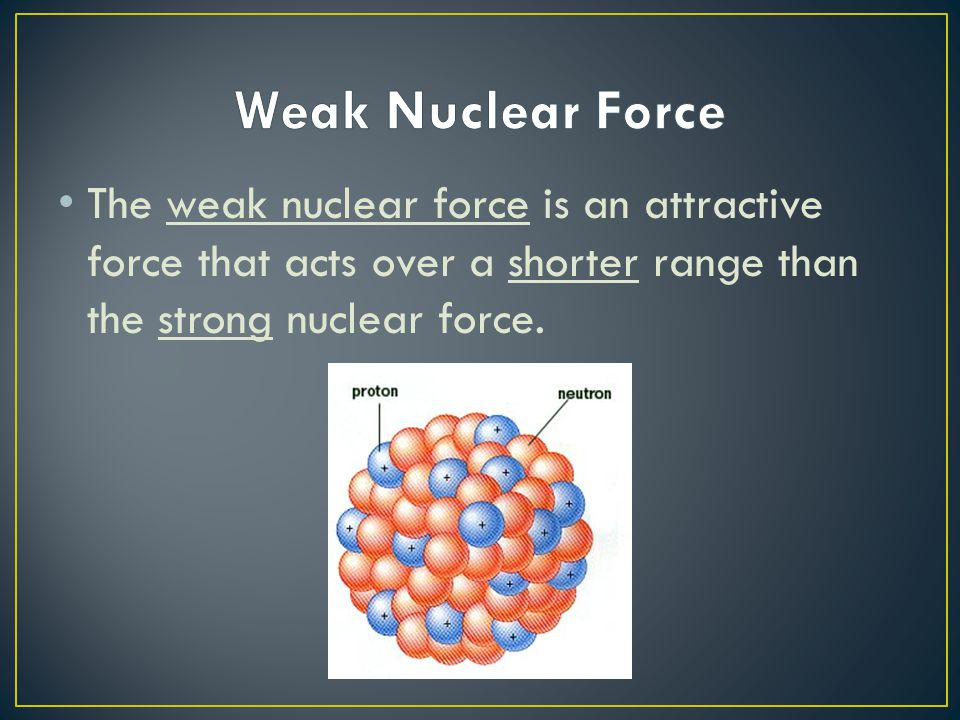Weak Nuclear Force The weak nuclear force is an attractive force that acts over a shorter range than the strong nuclear force.