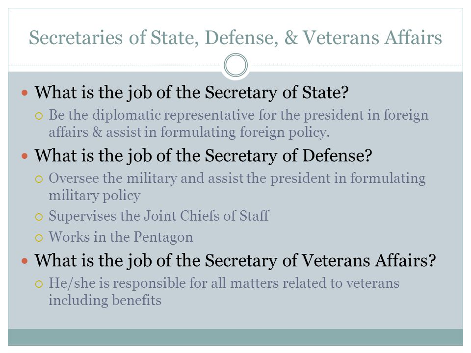 Secretaries of State, Defense, & Veterans Affairs