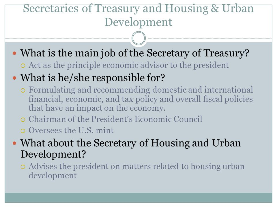 Secretaries of Treasury and Housing & Urban Development