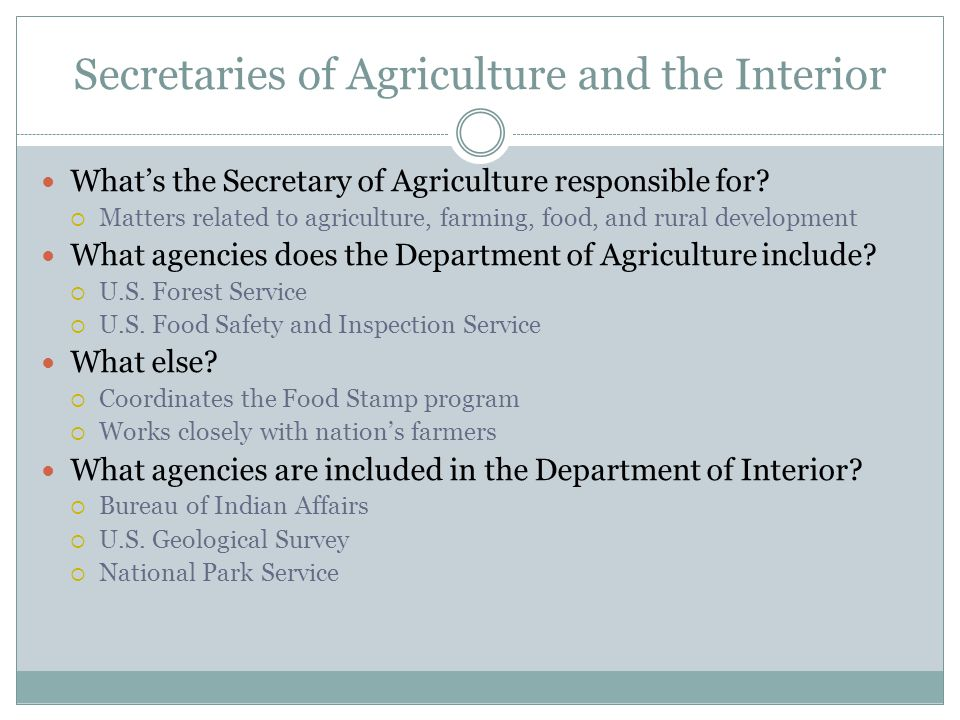 Secretaries of Agriculture and the Interior