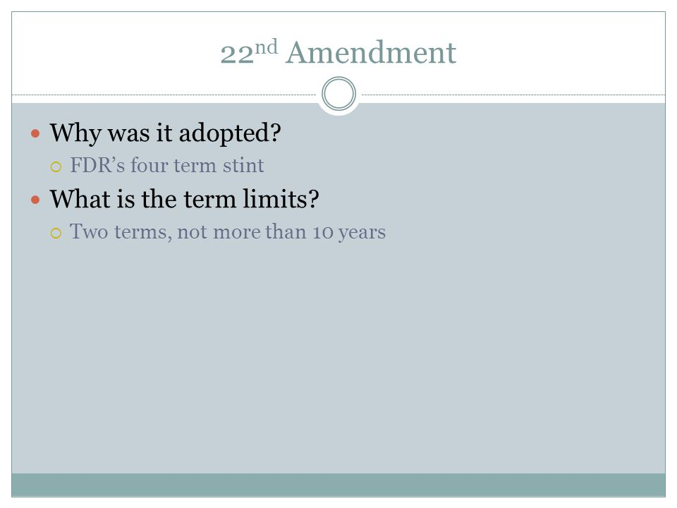 22nd Amendment Why was it adopted What is the term limits