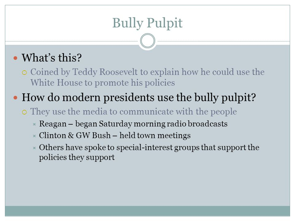 Bully Pulpit What's this