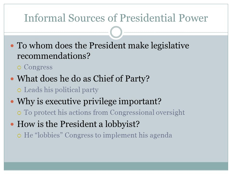 Informal Sources of Presidential Power