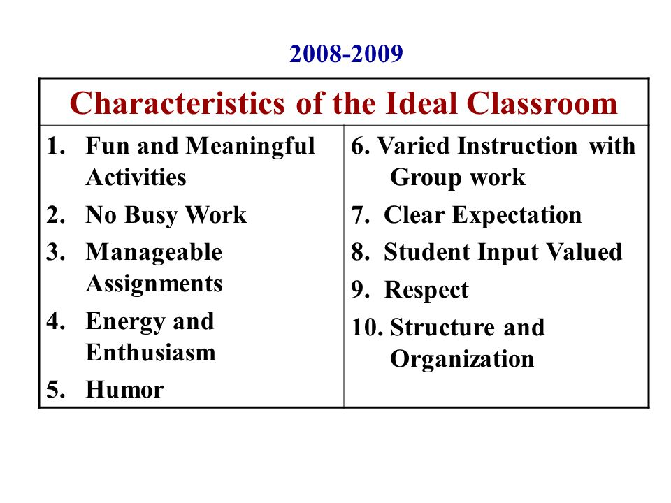 Characteristics of the Ideal Classroom