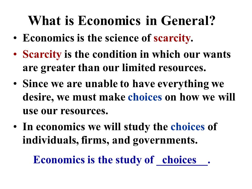 What is Economics in General