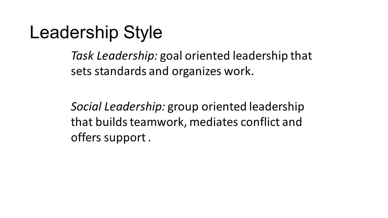 Leadership Style Task Leadership: goal oriented leadership that sets standards and organizes work.