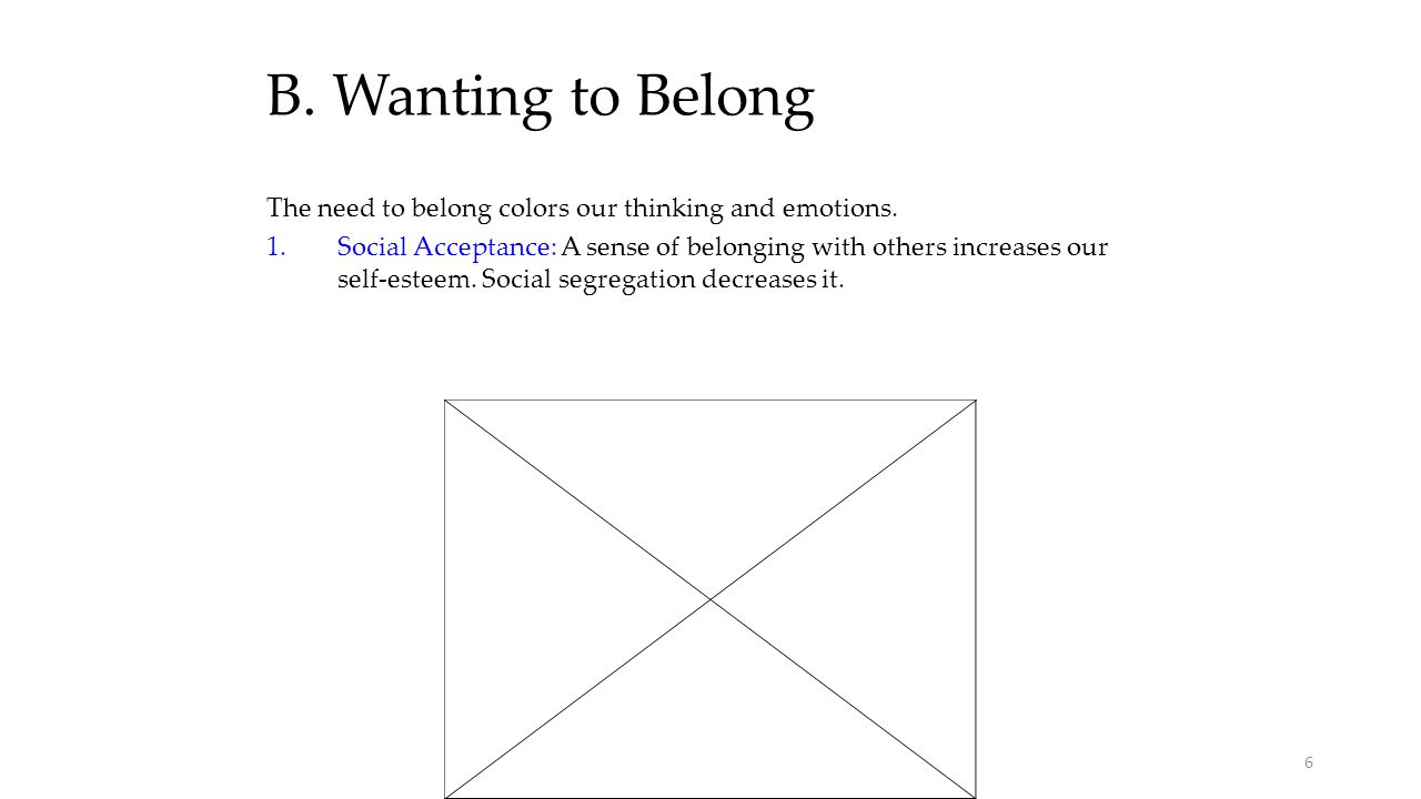 B. Wanting to Belong The need to belong colors our thinking and emotions.