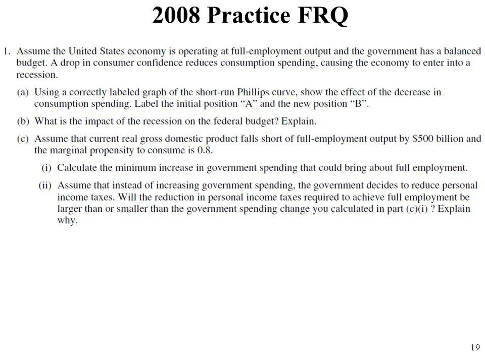 2008 Practice FRQ 19