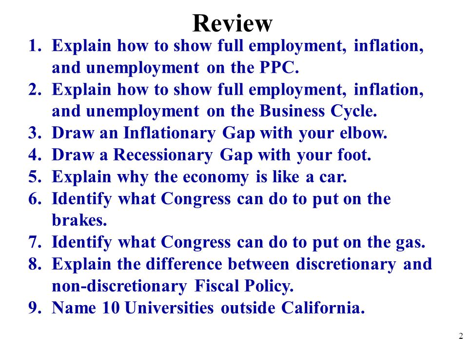 Review Explain how to show full employment, inflation, and unemployment on the PPC.